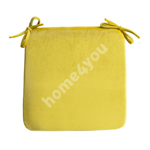 Chair pad VELVET 39x39xH2,5cm, yellow, 100%polyester, fabric 828