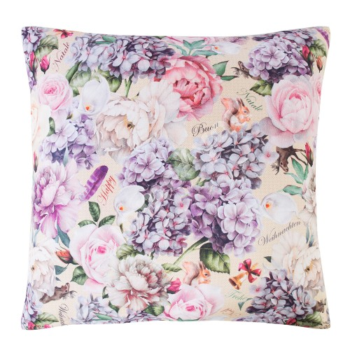 Pillow SHABBY 50x50cm, roses and reindeers, 100%cotton, fabric-181