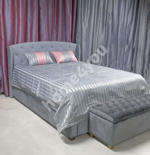 Blanket GREY & ROSE 240x240cm, grey stripe/grey, 100%polyester, fabric 847, 846