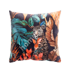 Подушка LEOPARD 45x45см, леопард в джунглях, бархат