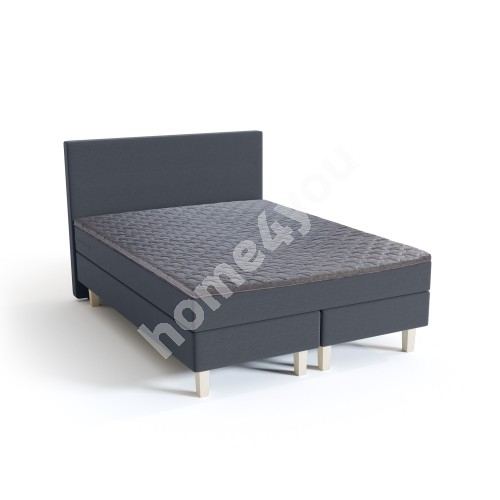 Continental bed HARMONY 160x200xH54cm, with headboard and topper, dark grey