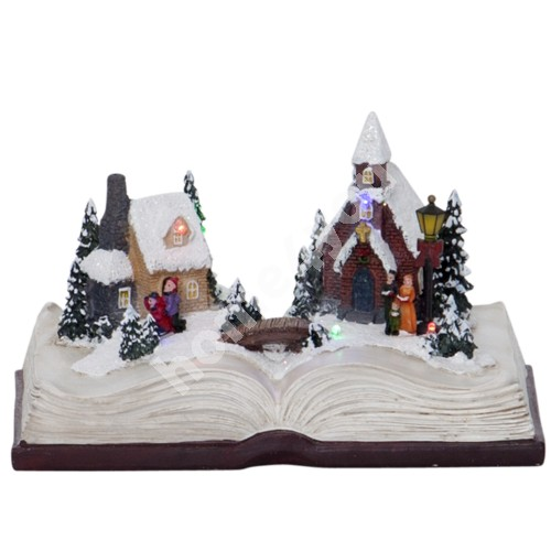 Christmas decoration BOOKVILLE 21,5x15xH13cm, with LED-light RGB, taimer 6h, book