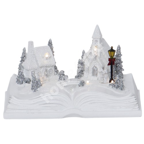 Christmas decoration BOOKVILLE 21,5x15xH13cm, with LED-light, white, book