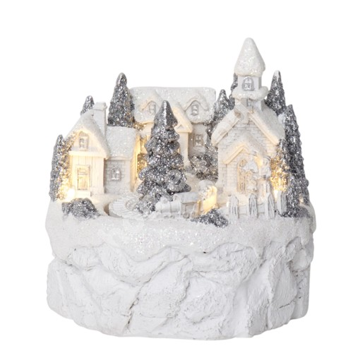 Christmas decoration TRAINVILLE 12x12xH12cm, with LED-light, white