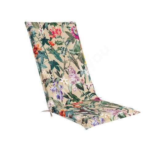 Seat/back cushion AMAZONIA 48x115x4,5cm, flowers/beige, 50%polyester/ 50%cotton