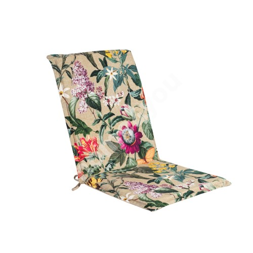 Seat/back cushion AMAZONIA 42x90x3cm, flowers/beige, 50%polyester/ 50%cotton