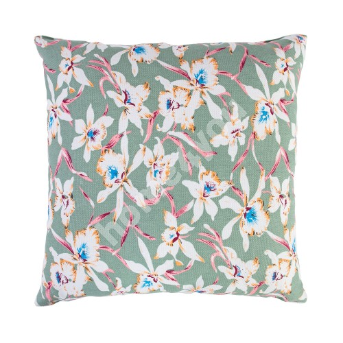Cushion SUMMER 45x45cm, orchids in light green background, 50%polyester, 50%cotton, fabric 118